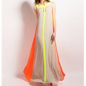 Stunning gray/lime green/ neon orange maxi dress!